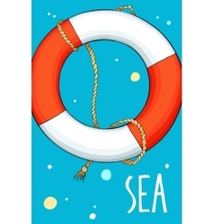 Lifebuoy in the sea background with bubbles vector