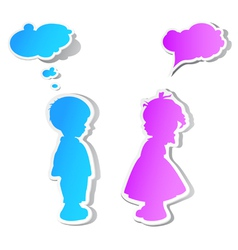 Children with speech bubbles vector