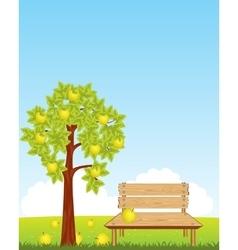 Bench under aple tree vector