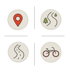 Bike travelling icons vector