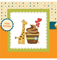 birthday greeting card with cupcake and giraffe vector image vector image