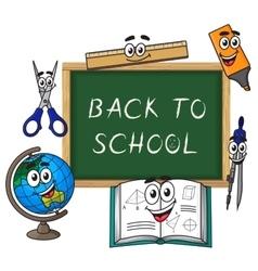 Blackboard with cartoon school supplies vector image vector image