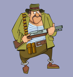 cartoon frightened man in hunter outfit with gun vector image