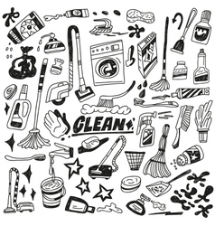 Cleaning tools doodles vector