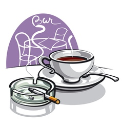coffee and cigarette vector image