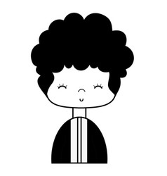 Contour nice boy with elegant suit and hairstyle vector