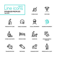 Disabled people - line design icons set vector