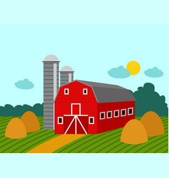 Farm building rural agriculture farmland nature vector
