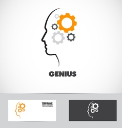 Genius gear mind logo vector