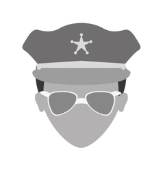 Grayscale police face icon image vector
