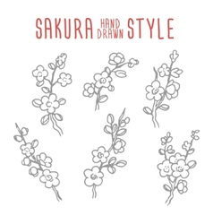 Hand drawn vintage sakura branches elements vector image