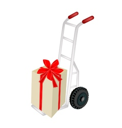 Hand truck loading a beautiful gift box vector