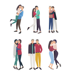 happy friends hug set guys and girls cuddling vector image
