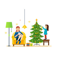 Mom and daughter resting on christmas evening vector