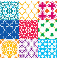 Moroccan tiles design seamless geometric pattern vector