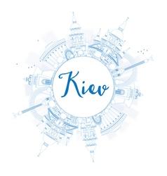 Outline kiev skyline with blue landmarks vector