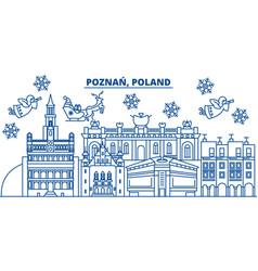 Poland poznan winter city skyline merry vector