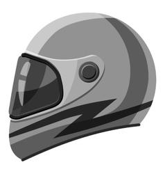 Racing helmet icon gray monochrome style vector