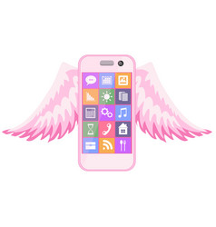 Realistic pink smartphone with touch screen vector