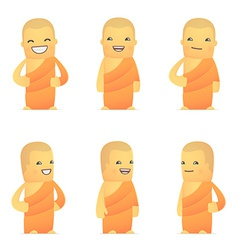 set of monk character in different poses vector image
