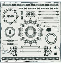 set of vintage floral pattern elements vector image