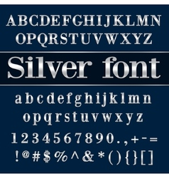 Silver coated alphabet letters and digits on blue vector