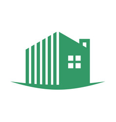 Simple green swoosh residence logo vector