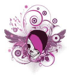 Skull with floral vector