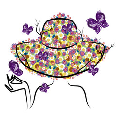 spring woman with hat vector image vector image