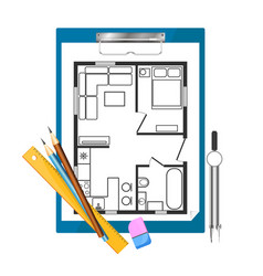 Tablet paper and drawing apartment plan vector