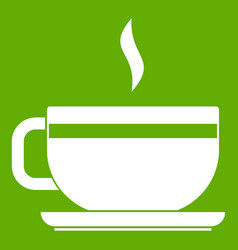 Tea cup and saucer icon green vector