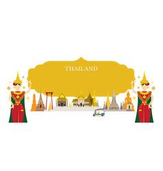 Thailand landmarks traditional dance frame vector