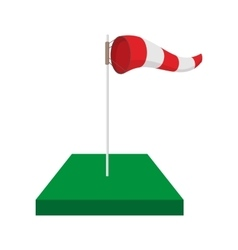 Windsock on golf course cartoon icon vector