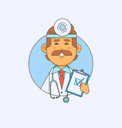 young doctor holding a blank banner in the hands vector image vector image