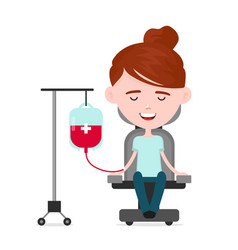 young happy woman donor a person donates blood vector image