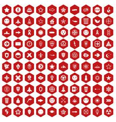 100 logotype icons hexagon red vector