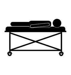 Patient lying on a hospital bed vector