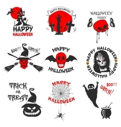 Set of halloween party labels badges and design vector image