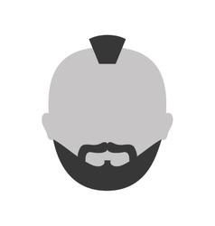 Grayscale criminal man face icon vector