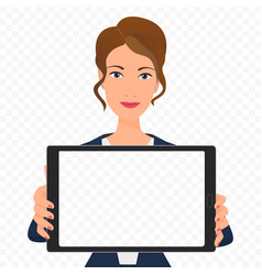Young businesswoman showing the empty tablet pc vector