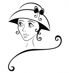 Lovely girl in a hat vector