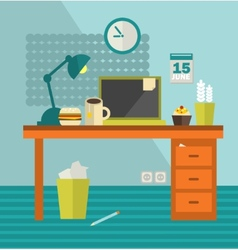 Work place of web designer with unhealthy food vector