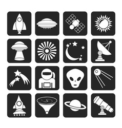 Silhouette space and universe icons vector image