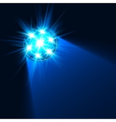 Bright blue flashlight light in darkness vector