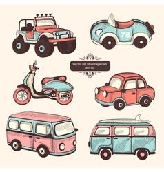 Retro cars icons set vector