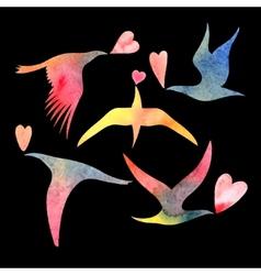 watercolor bird lovers vector image