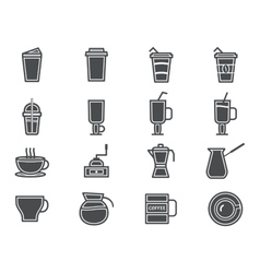 Coffee and cocktails silhouette elements and vector image