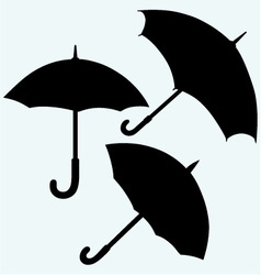Set black umbrella vector