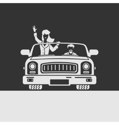 Woman and man in car vector