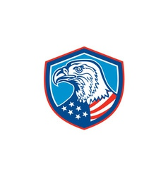 American Bald Eagle Head Shield Retro vector image vector image